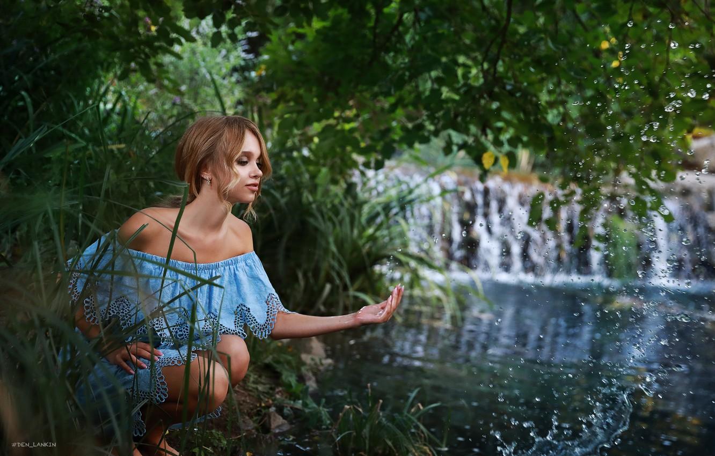 Photo wallpaper water, girl, squirt, pose, river, hand, neckline, shoulders, Denis Lankin, Polina Mihaylovskaya