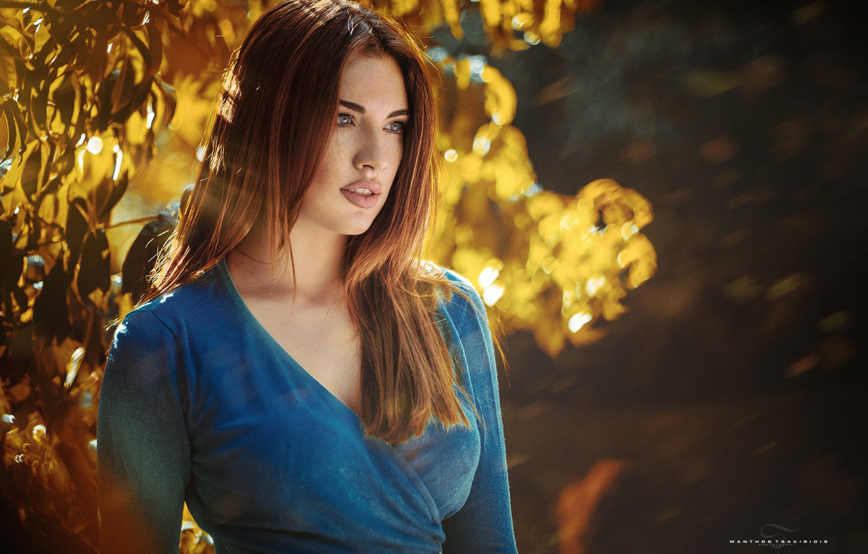 Photo wallpaper model, portrait, makeup, dress, hairstyle, brown hair, nature, posing, bokeh, blue, Manthos Tsakiridis