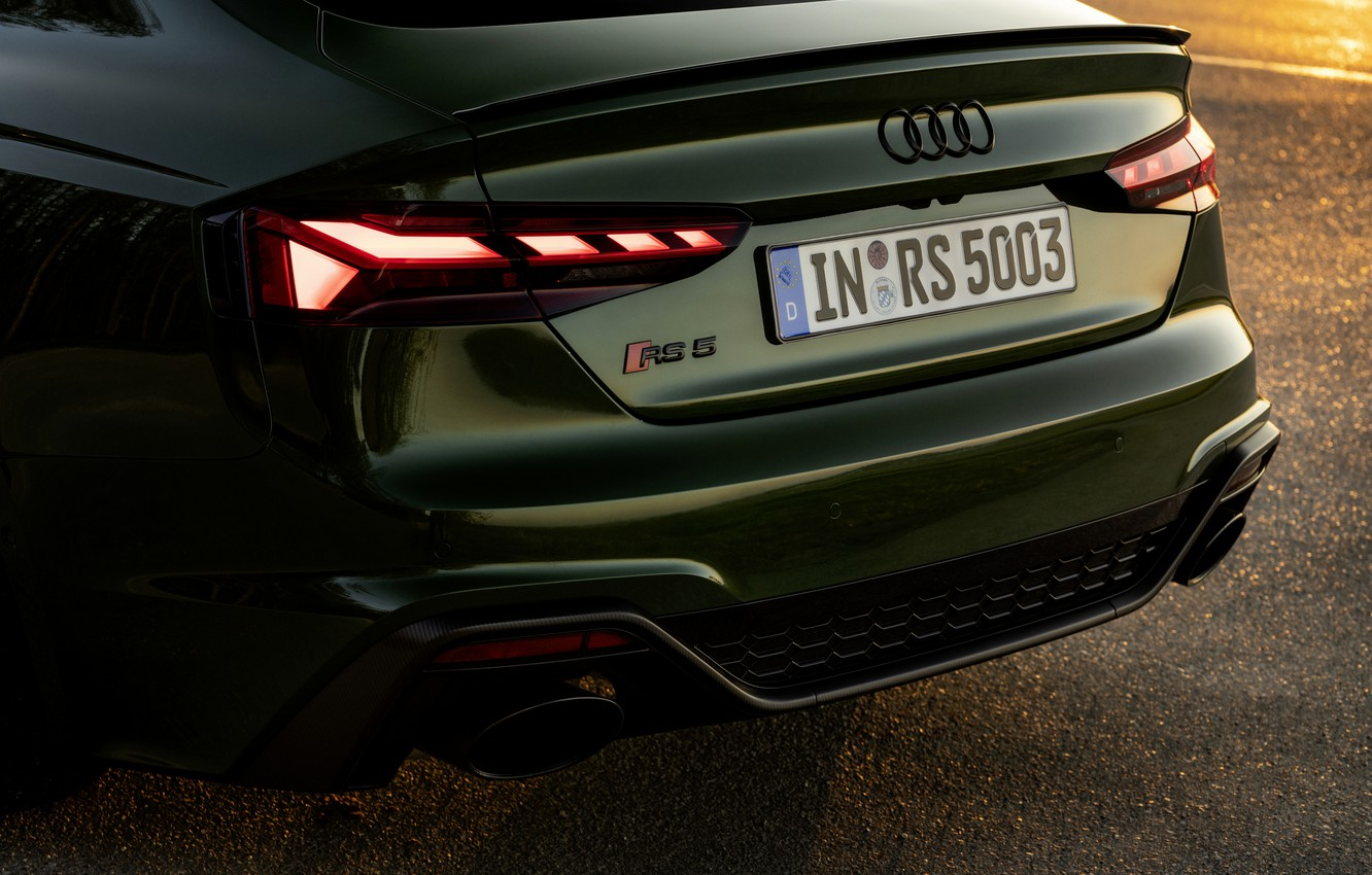 Photo wallpaper Audi, tail lights, feed, RS 5, 2020, RS5 Sportback