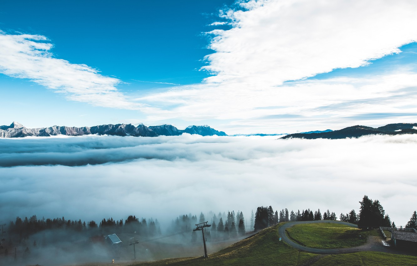 Photo wallpaper The sky, Nature, Clouds, Road, Mountains, Fog, Mountain, Landscape, Nature, Landscape, Mountain, Mountains, Markus Spiske, …