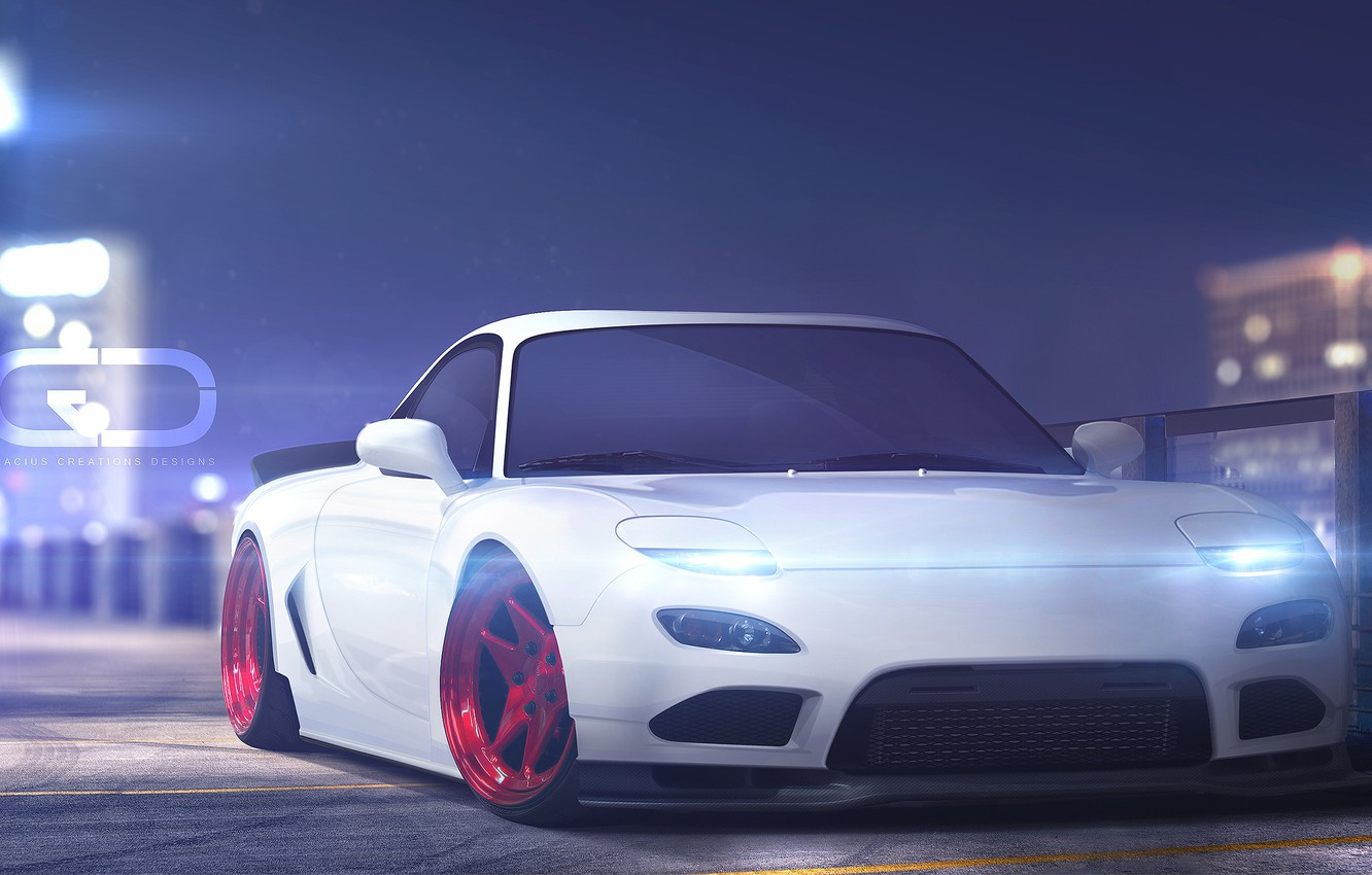 Photo wallpaper Auto, Machine, Mazda, Rendering, The front, Mazda RX-7, Rx-7, FD3S, Christer Stormark, by Christer Stormark, …