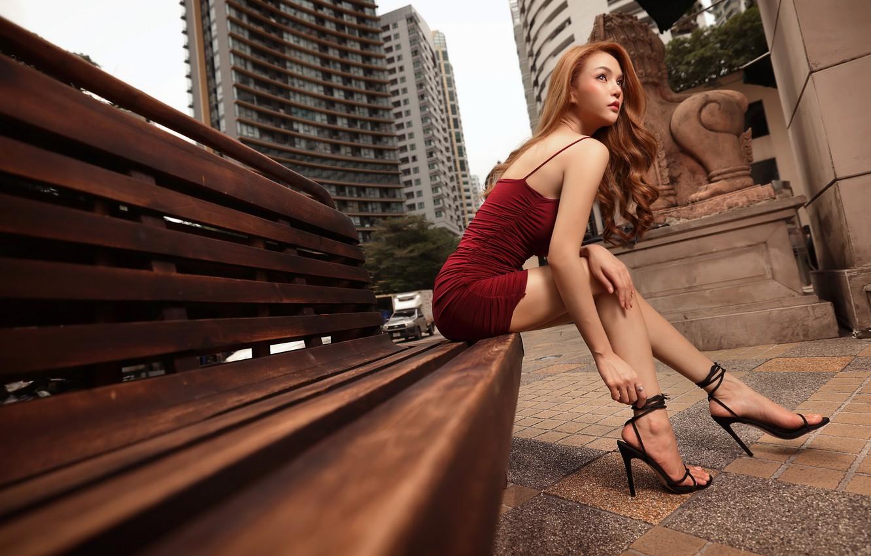 Photo wallpaper girl, street, Asian