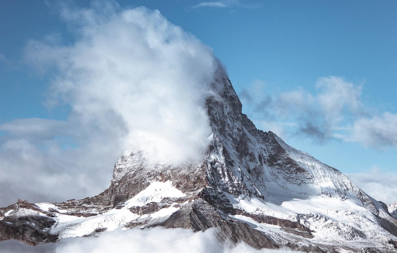 Photo wallpaper winter, clouds, snow, landscape, nature, mountain, top