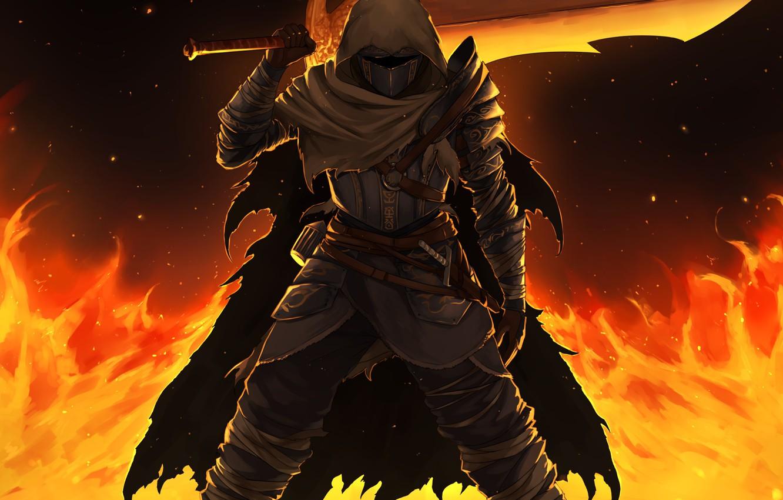 sword, warrior, cloak, Dark Souls 3