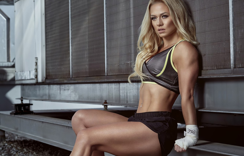 Photo wallpaper sport, girl, sexy, woman, women, boxing, blonde, top, shoes, piercing, fitness, navel, Shorts