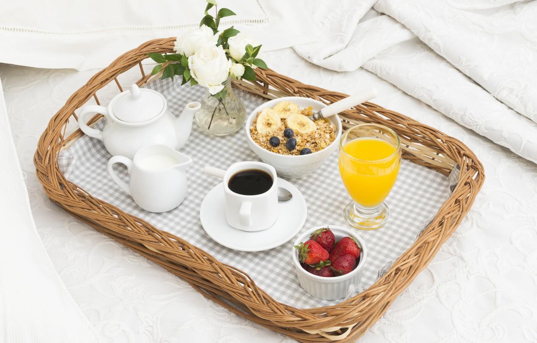 Photo wallpaper coffee, roses, Breakfast, cream, strawberry, juice, muesli