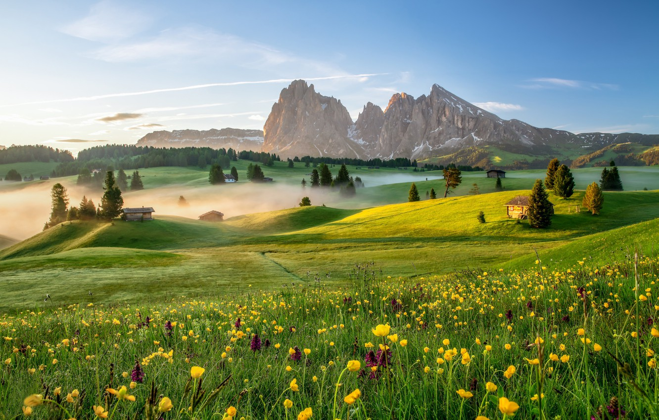 Photo wallpaper trees, flowers, mountains, dawn, morning, village, Italy, houses, Italy, meadows, buttercups, The Dolomites, South Tyrol, …