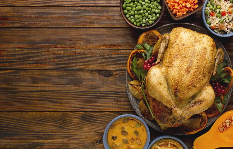 Photo wallpaper polka dot, pie, pumpkin, figure, carrots, wood, decoration, treats, fried chicken, thanksgiving