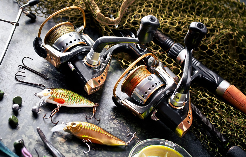 Photo wallpaper fish, network, fishing, rod, bokeh, hooks, tackle, fishing line, sinkers