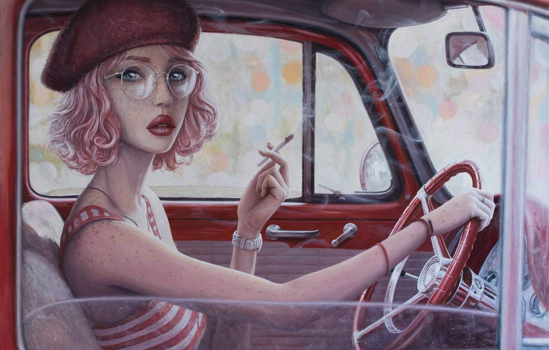 Photo wallpaper auto, girl, mirror, the wheel, glasses, cigarette, smokes, takes, art, pink hair, wrist watch, Edge