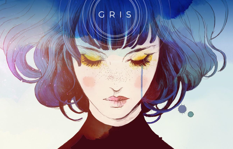 Photo wallpaper Girl, Game, Grey