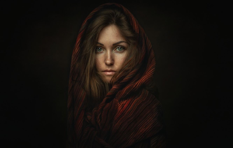 Photo wallpaper look, girl, portrait, scarf, shawl, Oksana, Lashon Rise, Oksana