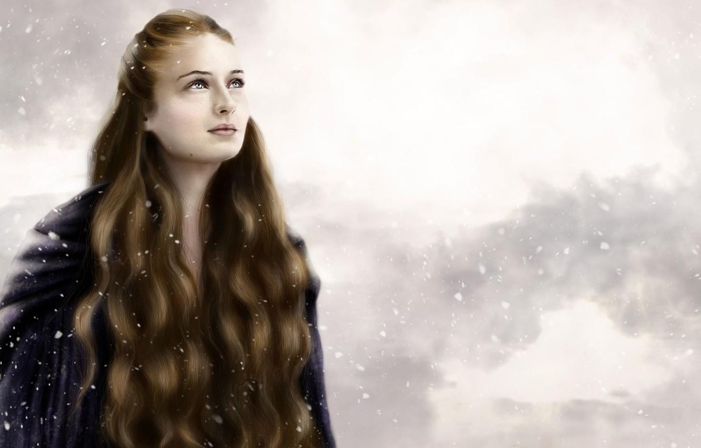 Photo wallpaper winter, girl, snow, long hair