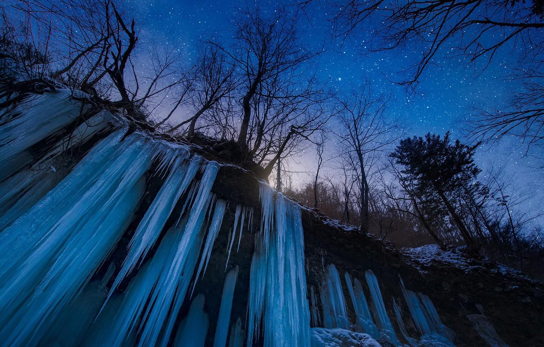 Photo wallpaper Japan, trees, nature, night, winter, snow, stars, waterfall, frozen water