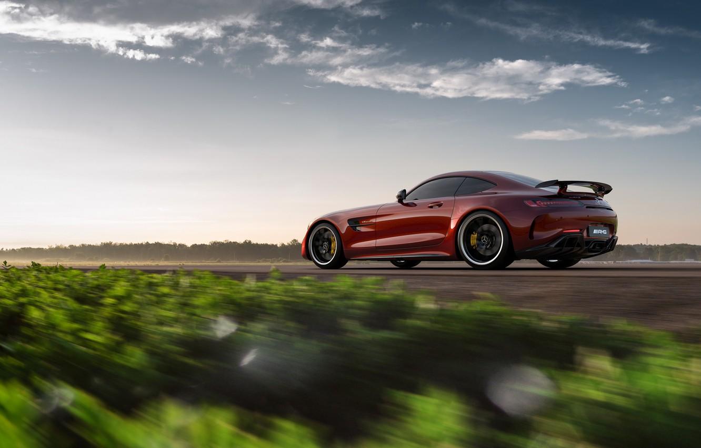 Photo wallpaper Mercedes-Benz, speed, rear view, AMG, 2018, GT R