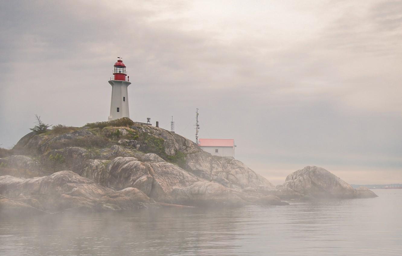 Photo wallpaper sea, nature, fog, house, rocks, lighthouse