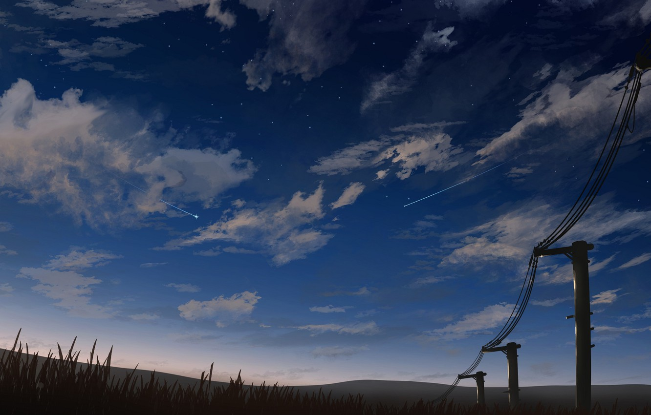 Photo wallpaper the sky, clouds, posts, wire