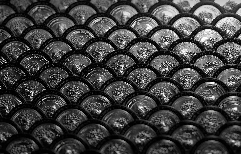 Photo wallpaper metal, background, texture, buttons, effect bokeh