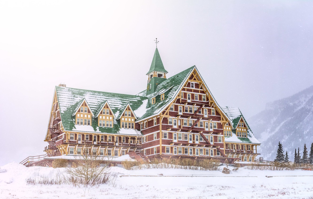 Photo wallpaper winter, forest, snow, mountains, the building, House, the hotel, the hotel