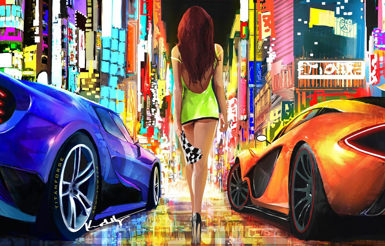 Photo wallpaper city, lights, girl, fantasy, supercar, digital art, artwork, fantasy art, high heels, McLaren P1, minidress, …