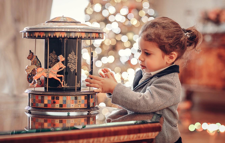 Photo wallpaper toy, girl, carousel, child, bokeh, Anna Ipatiev