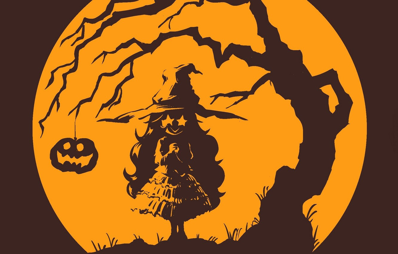 Photo wallpaper Halloween, witch, the full moon, Halloween, Jack, burning eyes, witch, witch hat, hell of a …