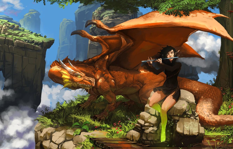 Photo wallpaper girl, fantasy, horns, sky, wings, clouds, rocks, tree, dragon, elf, digital art, artwork, fantasy art, …