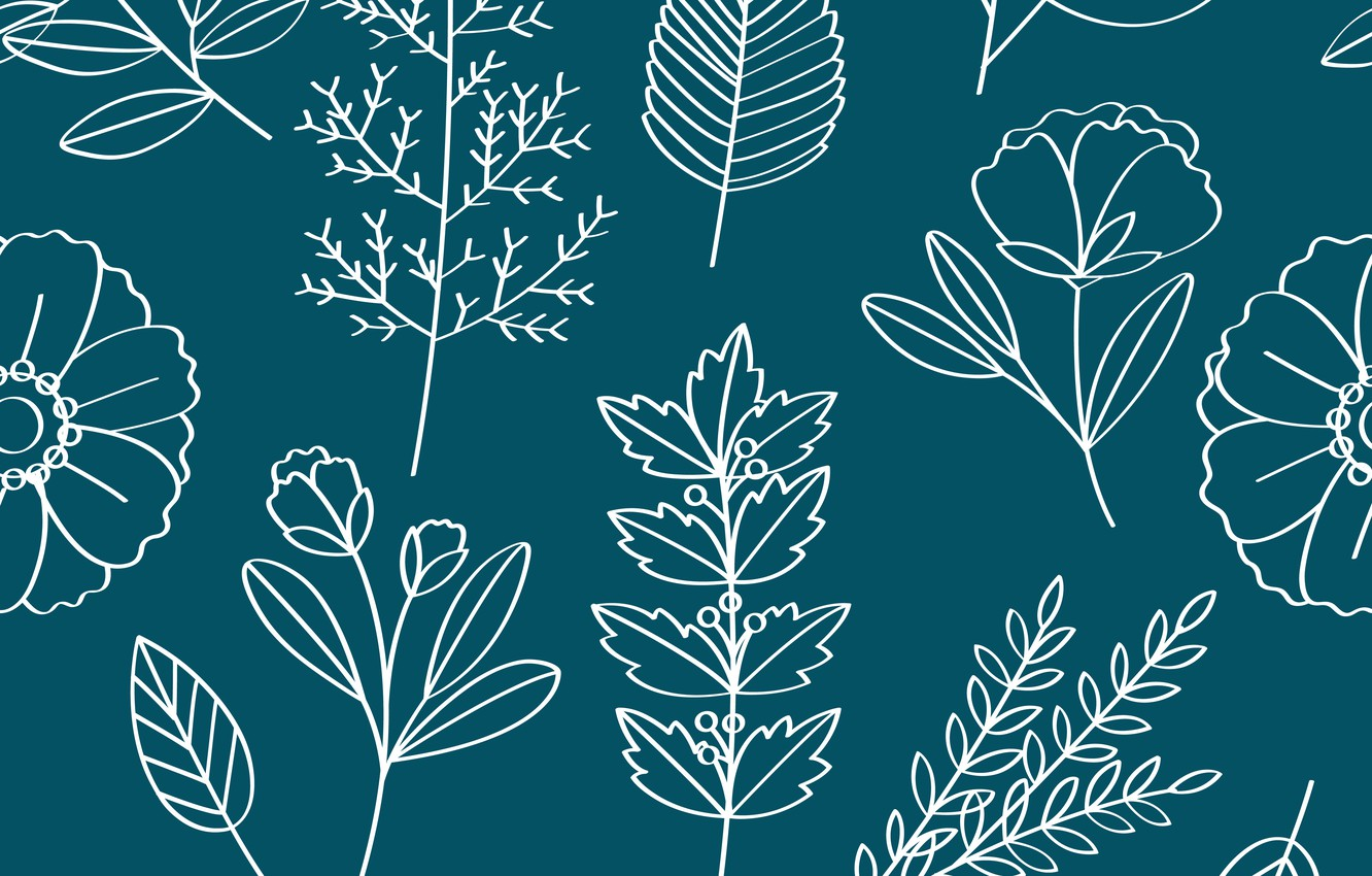 Photo wallpaper leaves, flowers, background, texture, Vector, Pattern, Floral