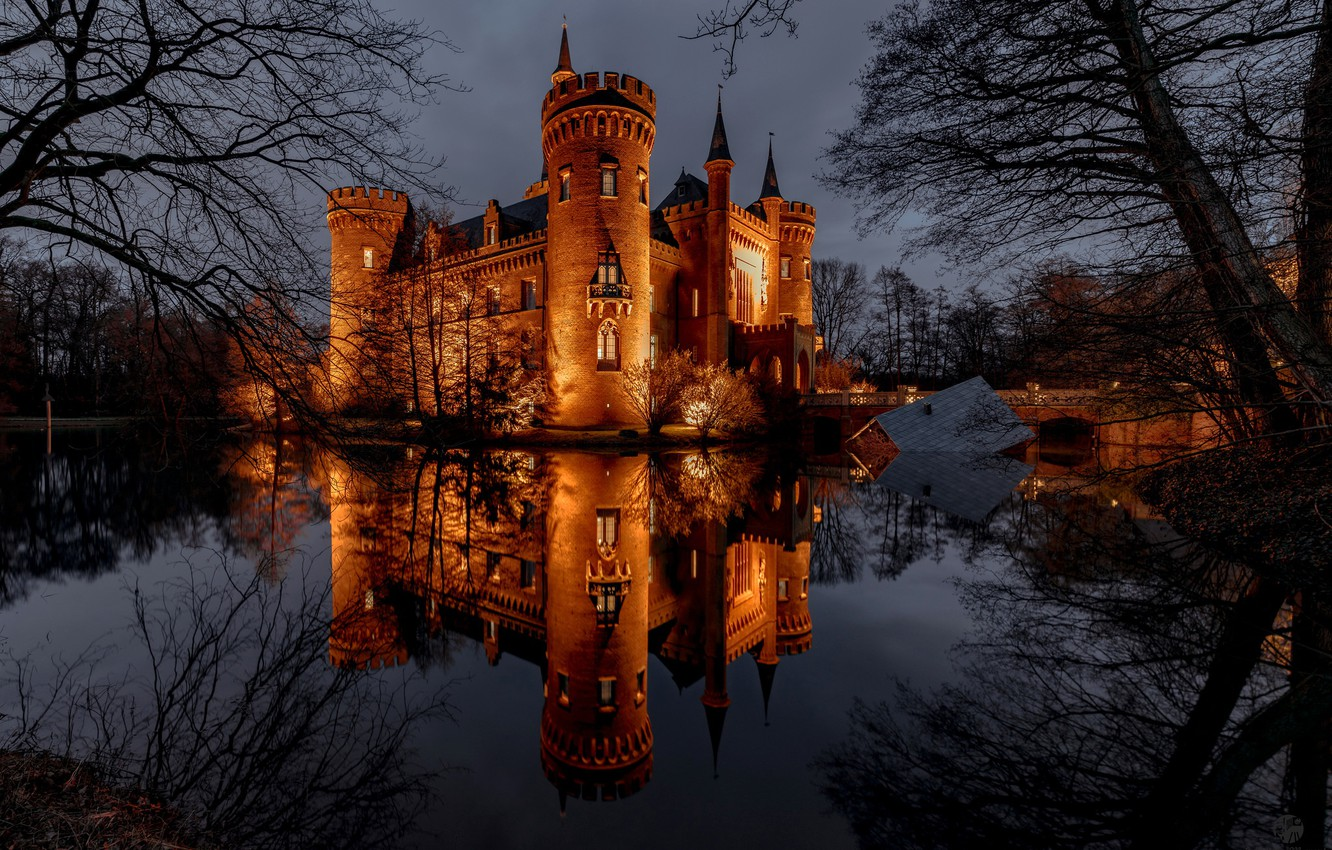 Photo wallpaper the sky, water, trees, lights, pond, Park, reflection, castle, the evening