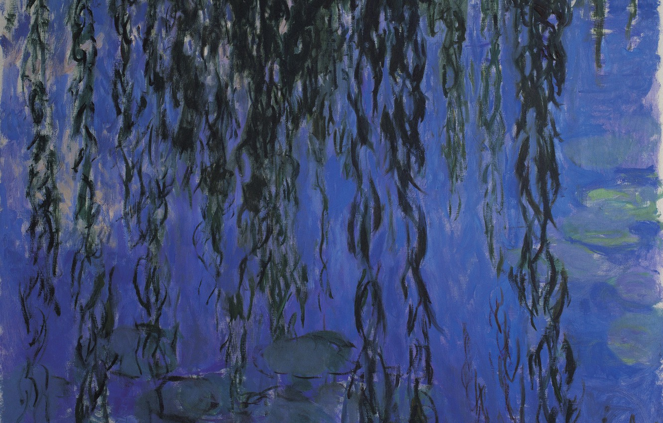 Wallpaper Claude Monet Water Lilies And Weeping Willow