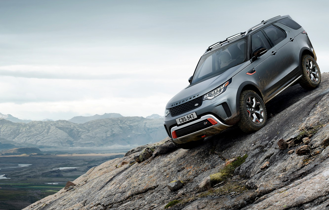Photo wallpaper Land Rover, Discovery, 4x4, 2017, V8, on the rock, SVX, 525 HP, 5 L.