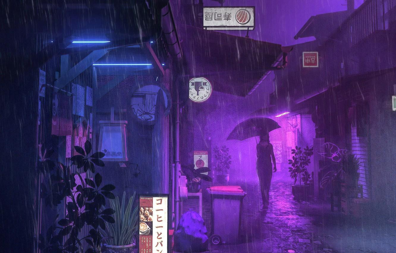 Photo wallpaper girl, night, rain, street, umbrella, advertising, silhouette, signs