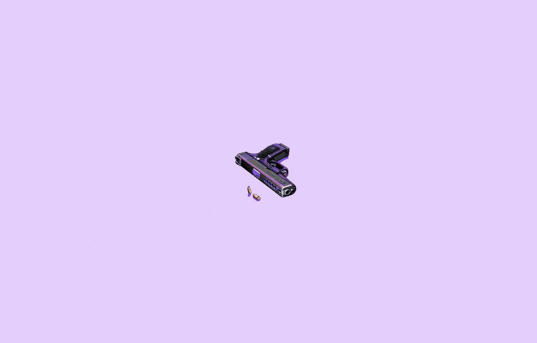 Photo wallpaper gun, pink, minimalism, bullets, pixelart