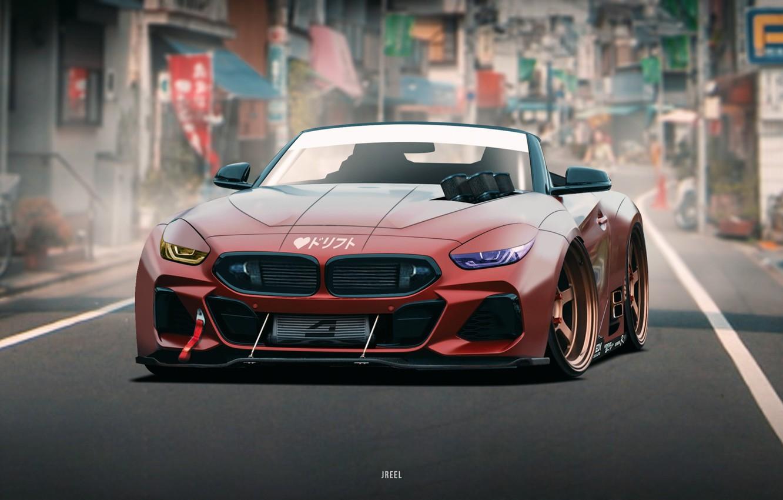 Photo wallpaper Auto, BMW, Machine, Art, Concept Art, The front, BMW Z4, Transport & Vehicles, by JREEL, …