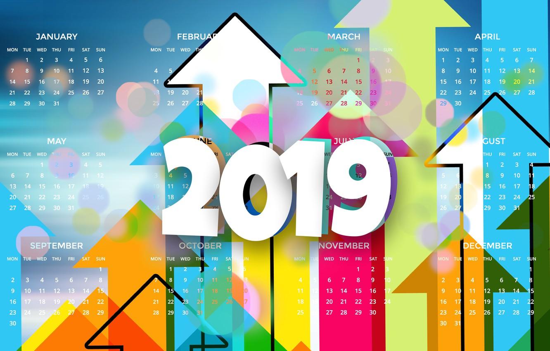 Photo wallpaper calendar, graphics, 2019