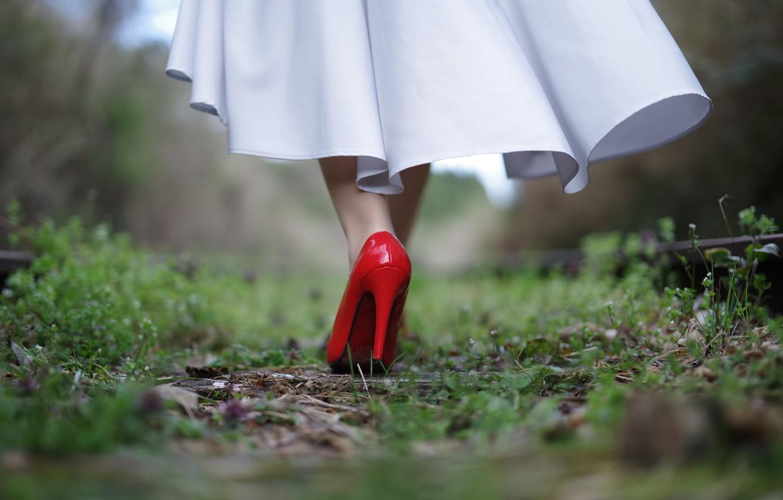 Photo wallpaper girl, Red, slipper