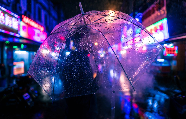 Photo wallpaper drops, night, lights, rain, people, umbrella, bokeh