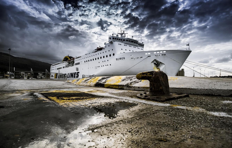 Photo wallpaper the sky, ship, port