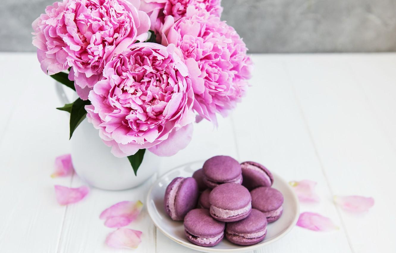 Photo wallpaper flowers, pink, wood, pink, flowers, peonies, peonies, macaron, macaroon