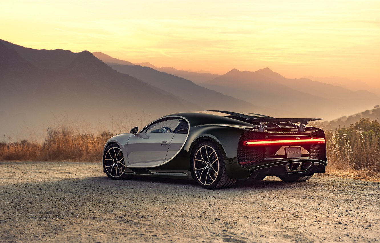 Photo wallpaper sunset, the evening, Bugatti, supercar, 2018, hypercar, Chiron