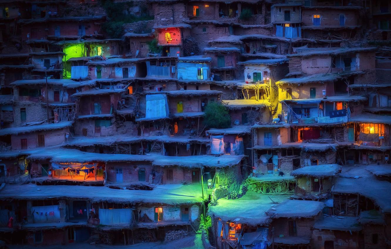Photo wallpaper night, lights, the evening, village, houses, Iran, slums, Sar Aqa Seyyed