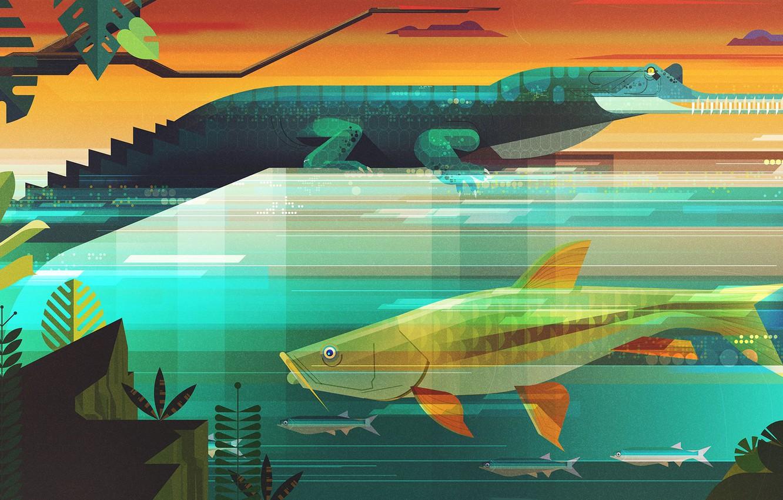 Photo wallpaper Fish, Minimalism, Fish, Style, Crocodile, Animals, Art, Art, Style, Digital, Alligator, Illustration, Minimalism, illustration, Animals, …