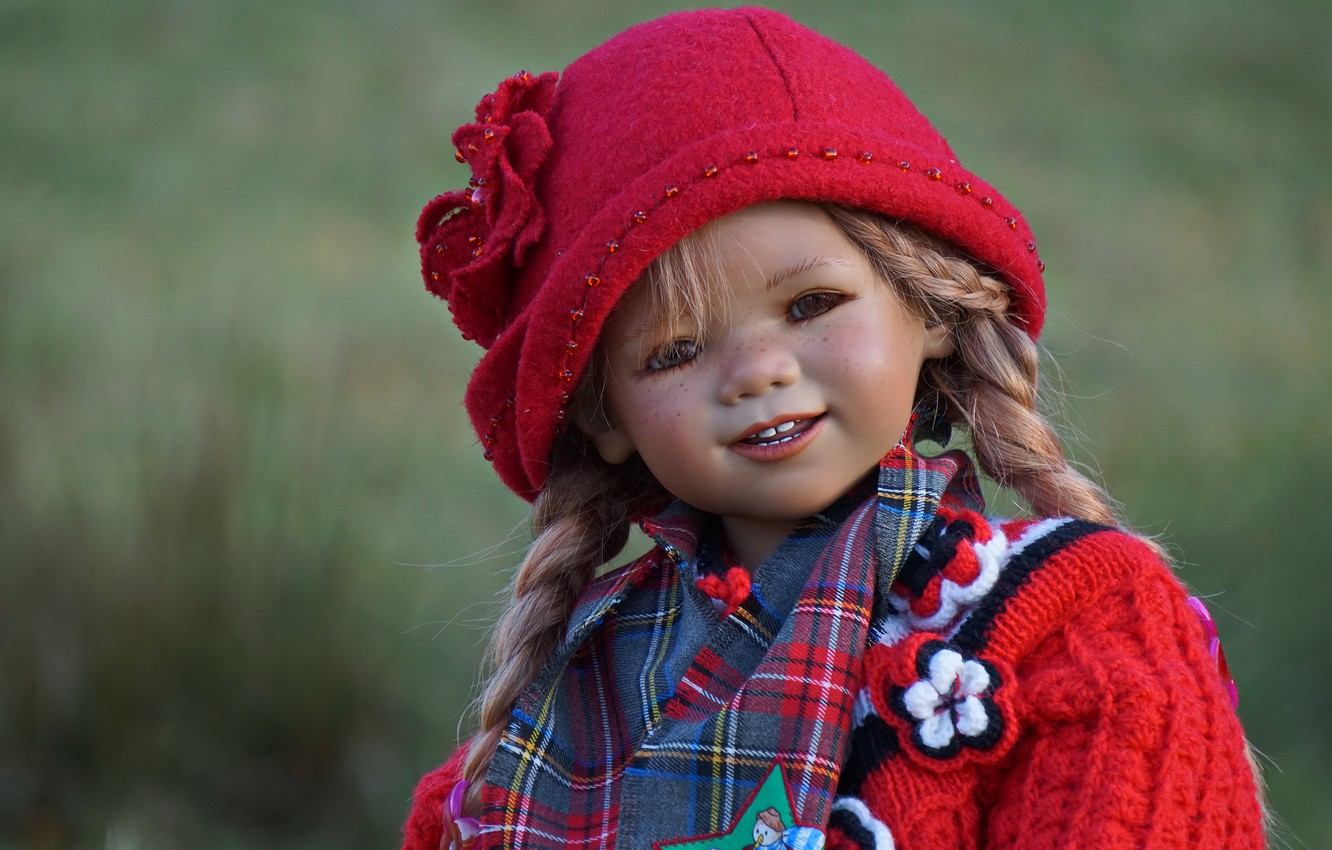 Photo wallpaper face, smile, background, clothing, toy, portrait, doll, girl, braids, image, red, cap, doll