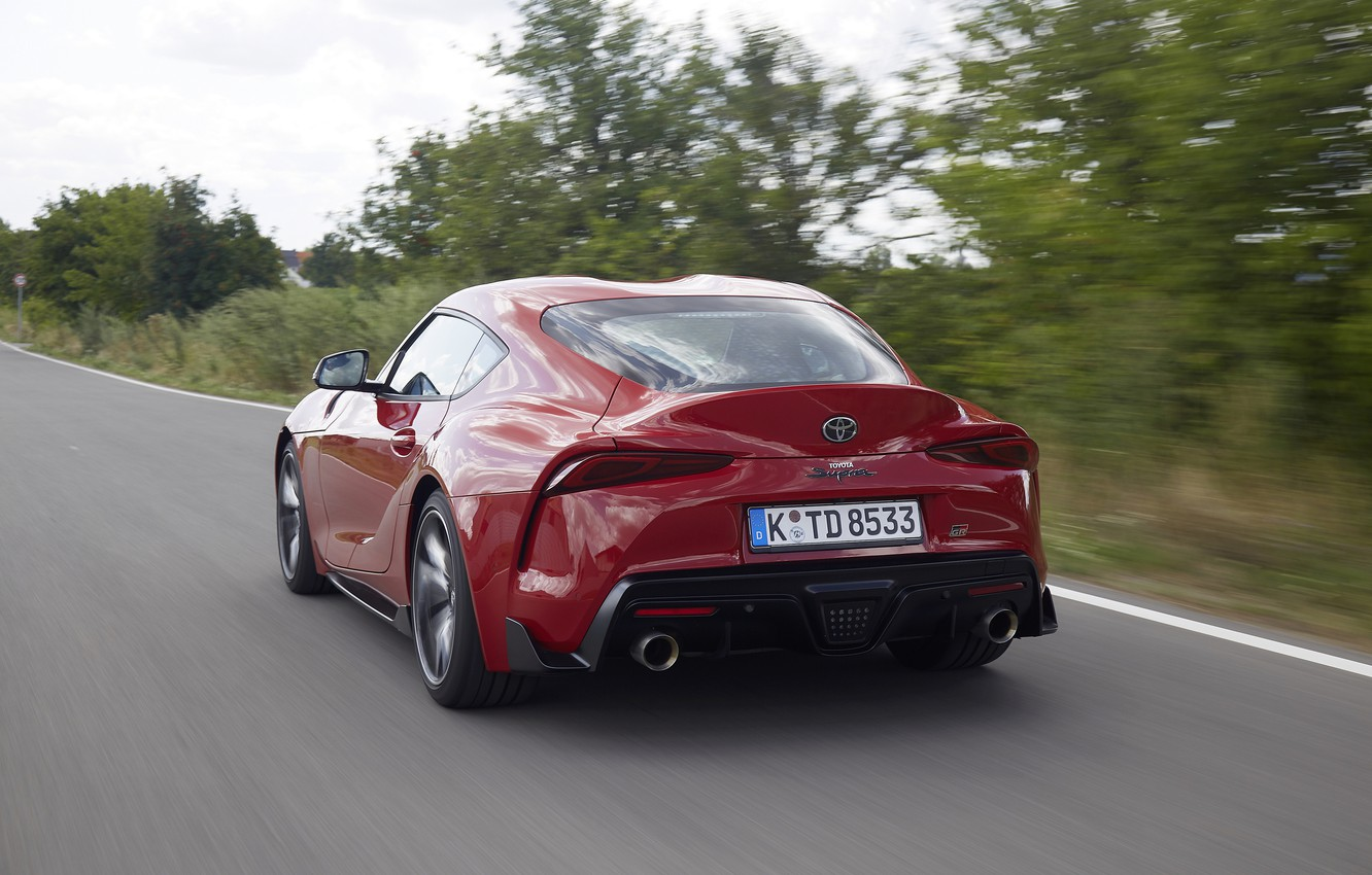 Photo wallpaper red, movement, coupe, back, Toyota, Supra, the fifth generation, mk5, double, 2019, GR Above, A90, …