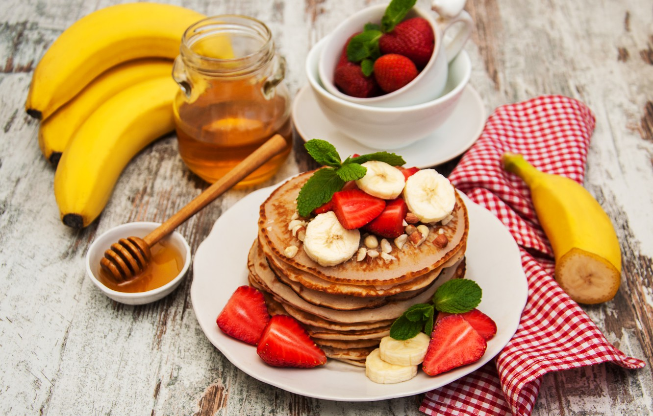 Photo wallpaper berries, Breakfast, strawberry, honey, bananas, nuts, pancakes, Olena Rudo
