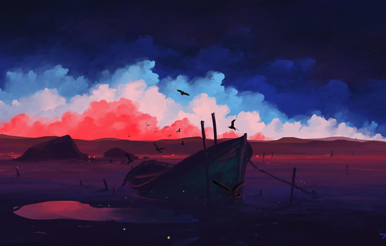 Photo wallpaper colorful, sky, landscape, nature, sunset, art, clouds, birds, evening, artist, digital art, artwork, boat, BisBiswas