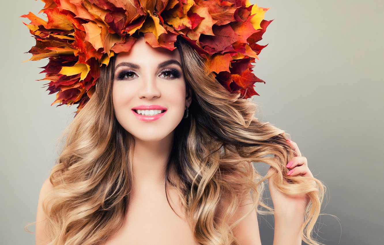 Photo wallpaper look, girl, red, face, hand, makeup, wreath, maple