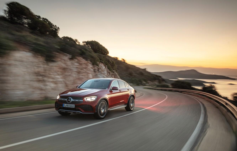 Photo wallpaper asphalt, sunset, movement, Mercedes-Benz, coupe, crossover, GLC