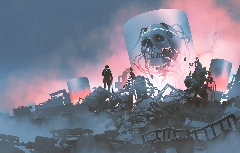 Photo wallpaper science fiction, Head, Digital Art, laboratory, Skeleton, Ruins, Cyberpunk, artwok, Rubble
