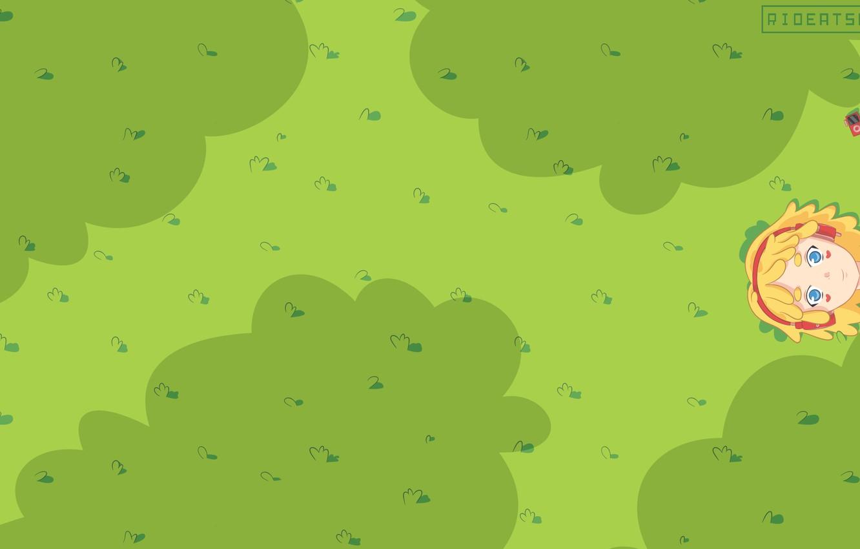 Photo wallpaper simple, green, kawaii, music, girl, field, nature, anime, art, minimalistic, sweet, cute, kawai, rioeatsrice